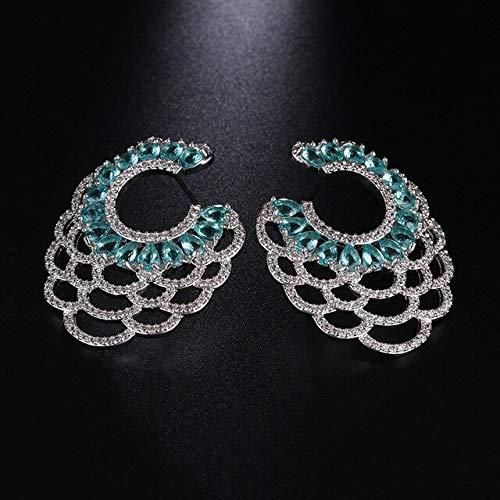 Lujo Vintage Blue Branch Stud Pendientes para mujeres Club Factory Wedding Fan Shape Cz Stone Ethnic EaringsOceanblue