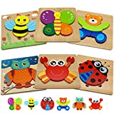 Wooden Jigsaw Animal Puzzles for Toddlers Pack of 6 – Perfect Early Learning Educational Wood Toy – Sunny Cubs Puzzles Encourage Cognitive, Sensory, and Fine Motor Skills Development
