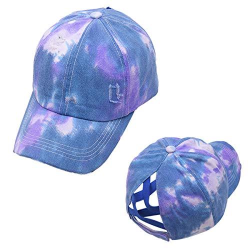 Wxllzlife Womens Tie dye Baseball Cap - Criss Cross Back for High Ponytail Messy Bun - Dad Hat - Adjustable Purple Blue