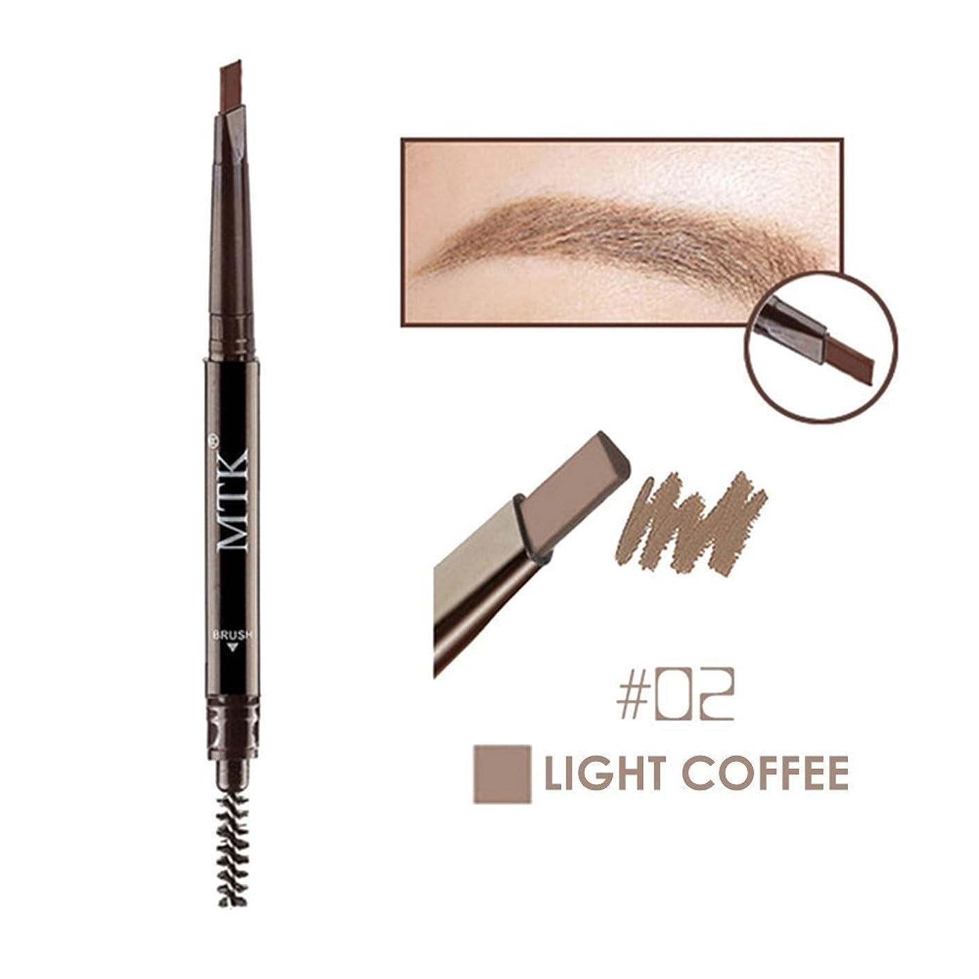 進化する寸前歩行者Panlom ブラシと防水性の自動眉毛ペン回転した化粧自然な色の三角形の眉毛の鉛筆 ライトコーヒー