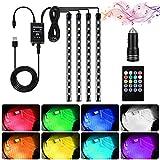Luci interne per auto, 4 pezzi di strisce LED a 48 LED multicolor per auto musicali, neon illuminato con funzione audio attiva e telecomando e porta USB e caricabatteria per auto