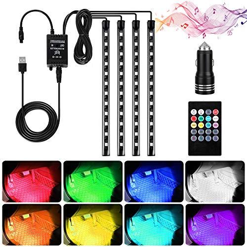 Haofy LED Auto Innenbeleuchtung Lichtleiste, 4 Stück 48 LED Multicolor RGB Atmosphäre Lichter Strip mit USB-Port Autoladegerät, Drahtlose Fernsteuerung, Musik & Sound Active Funktion