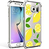 Galaxy S7 Edge Case Clear with Lemon Design Shockproof Protective Case for Samsung Galaxy S7 Edge 5.5 Inch Cute Summer Fruit Yellow Pattern Flexible Slim Rubber Floral Cell Phone Cover for Girls Women