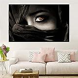 Carteles e impresiones de belleza de fantasía Arte de pared en blanco y negro Mujeres Ojos de niña Cara Decoración de sala de estar Pintura en lienzo Impresión moderna 30x45 CM (sin marco)