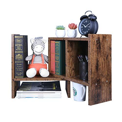 OROPY Verstellbarer Schreibtischregal, kleines Bücherregal, Retrostil, Tisch-Organizer, Multifunktionär und Freistehend zum Aufstellen auf Schreibtisch/in Büro, Wohnzimmer, Schlafzimmer-Braun