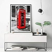 IGZAKER London City Poster Lienzo Pintura Roja Cabina telefónica Imagen Arte de la Pared Impresiones London Travel Photography Decoración de la habitación del hogar ; 40x60cm sin Marco
