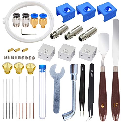 HAWKUNG 34 Pcs 3D Printer Accessories Kit, 3 Nozzle + 3 Heater Block + 3 Throat Tube + 3 MK10 Silicone Socks + 10 Cleaning needle + Other Parts for MK10 3D Printer 1.75mm Filament Extruder Hotend