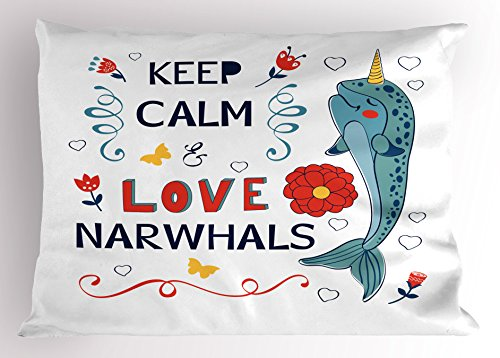 Ambesonne Narwhal Pillow Sham, Pop Culture Phrase with Unicorn of The Ocean Design Colorful Cartoon Character, Decorative Standard Size Printed Pillowcase, 26' X 20', Dark Coral