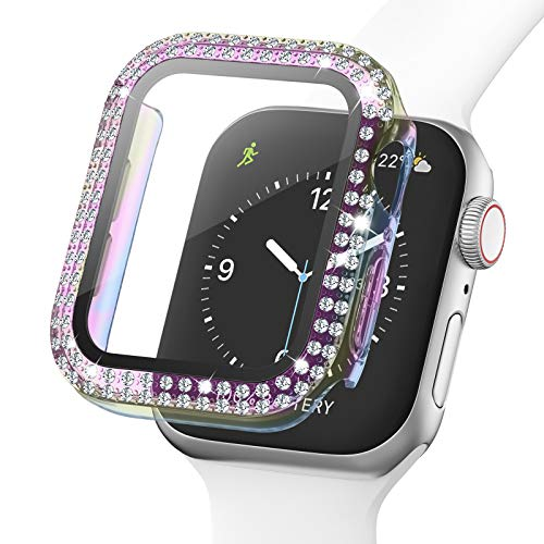 Adepoy Bling Case para Apple Watch 38mm Series 3/2/1 con protector de pantalla de vidrio templado, doble diamante Rhinestone All-Around funda protectora ultrafina para iWatch mujeres niñas (colorido)