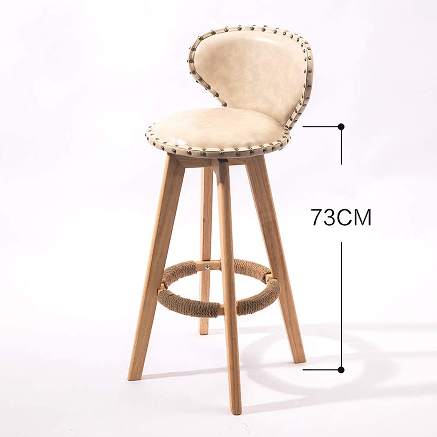 redatable Solid Wood bar Chair Creative bar Stool Personality high Stool Suitable for Coffee Shop Living Room Club 29  15 inch SUGEWANJBD (color   White)