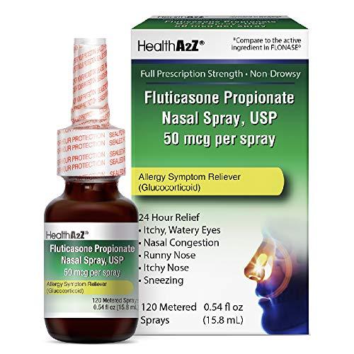 HealthA2Z Fluticasone Propionate Nasal Sprays, 24 Hour Allergy Relief,120 Sprays, 0.54 fl oz