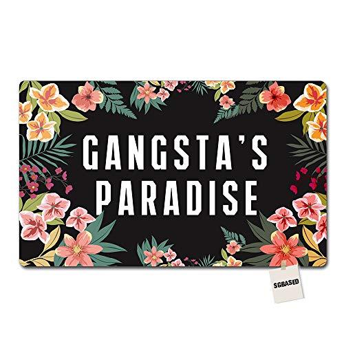 SGBASED Door Mat Funny Doormat Gangsta'S Paradise Mat Washable Floor Entrance Outdoor & Indoor Rug Doormat Non-Woven Fabric (23.6 X 15.7 inches)