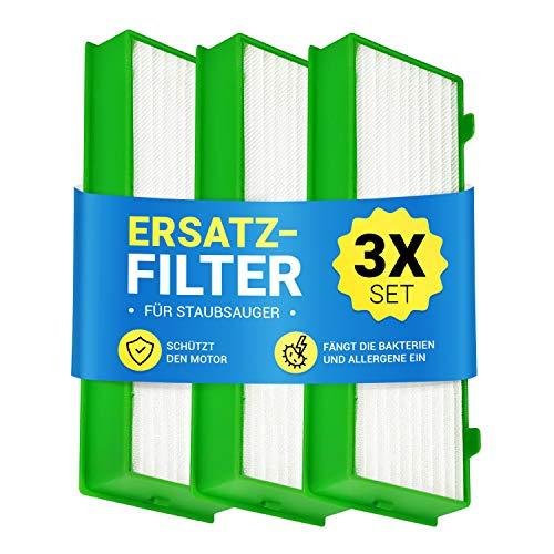 Filter Set 3x Motorschutzfilter für Staubsauger Roboter Kobold VR-200 wie Vorwerk Abluftfilterkassette Lamellenfilter Pollenfilter Filterset für Staubsauger-Roboter Roboterstaubsauger