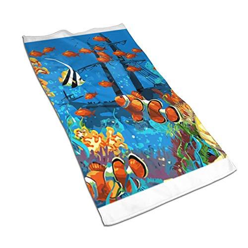 ZGPOJNDKI Toallas de mano de coral y pirata de pescado de 70 x 35 cm, ultra suaves, altamente absorbentes, multiusos para baño, hotel, gimnasio, spa, yoga, cocina, decoración del hogar