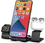 Charger Stand for Apple Watch MagSafe Charging Dock Holder,3 in 1 Aluminum Desk Stand for iWatch Series 6/5/4/3/2/1/SE, AirPods Pro/2/1,iPad and iPhone Series 12/11/Xs/X/8/7(Charger & Cables Required)