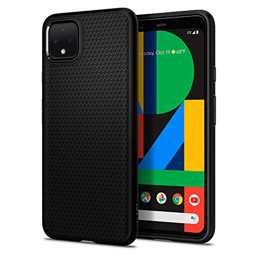 Spigen Liquid Air Kompatibel mit Google Pixel 4 XL Hülle, Stylisch Muster Silikon Handyhülle Schutzhülle Capsule Hülle Matte Black F25CS27547
