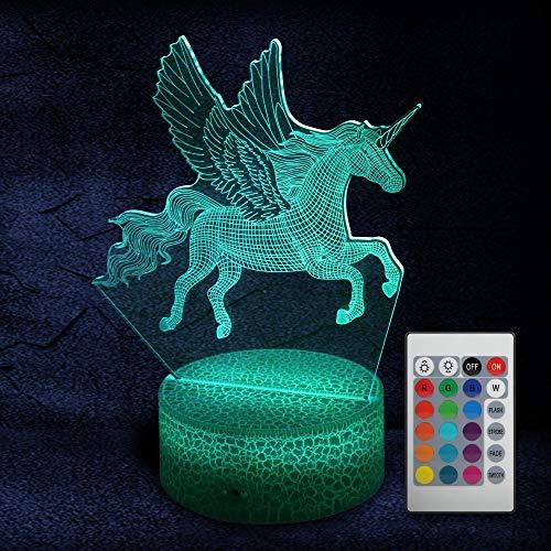 Parsion 3D Nachtlicht Illusion Einhorn 16 Farben mit Fernbedienung Ändern, Tragbare USB-Aufladung oder Batterie LED Pferd Nachtlampe Geschenke für Kinder Jungen 3 4 5+ Jahre