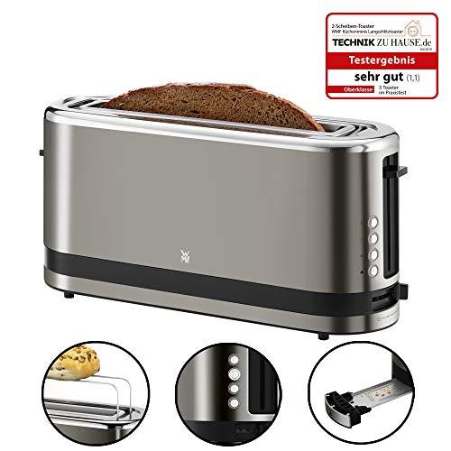 WMF Küchenminis Toaster Langschlitz mit Brötchenaufsatz, 900 W, XXL Toastscheiben, 7 Bräunungsstufen, Bagel-Funktion, Toaster edelstahl matt/graphit