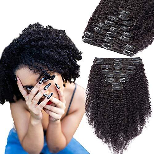 Extension a Clip Cheveux Naturel Bouclé Afro Maxi Volume - Rajout Cheveux Humain 8 Pcs Tissage Cheveux Avec Clips (#1B Noir naturel, 65 cm)