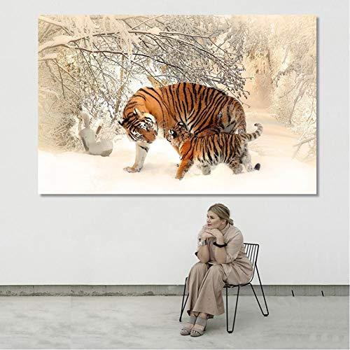 TBWPTS Canvas Schilderij Animal Posters Prints Wall Art Canvas Schilderij Bloemen Twee Tijgers In De Sneeuw Foto Woonkamer Home Decor