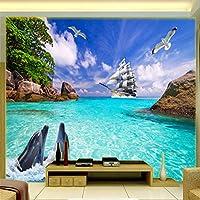 写真の壁紙3D立体空間カスタム大規模な壁紙の壁紙 イルカセーリングリビングルーム現代リビングルームのテレビの背景寝室家の装飾壁画 -200X140cm(78 * 55インチ)