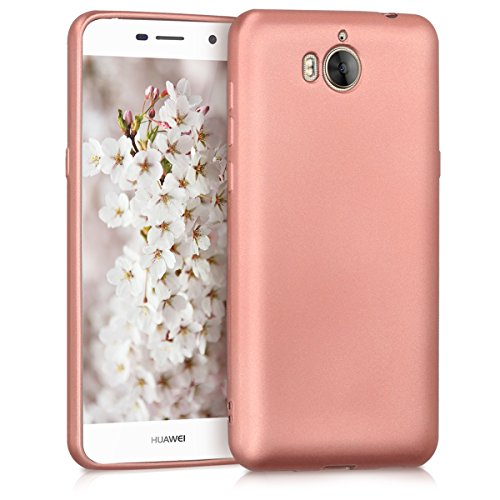 kwmobile Funda Compatible con Huawei Y6 (2017) - Carcasa móvil de Silicona - Protector Trasero en Oro Rosa Metalizado