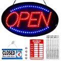 Large Flashing Neon Open Sign for Business - 23x14 Inches - Bright Jumbo LED Open Light with ON & Off Switch Blue-Red