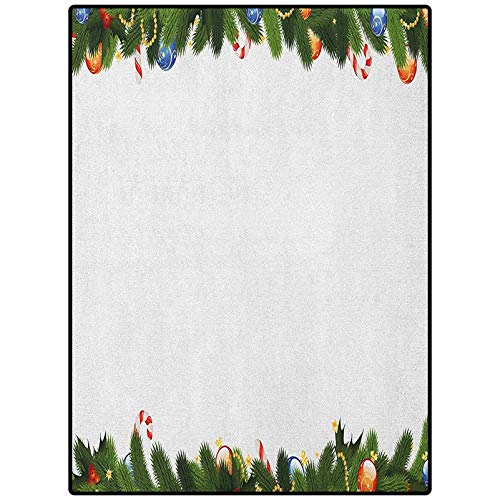 New Year Print Area Rug Christmas Thanksgiving Decor Rug Fir Tree Branches with Christmas Theme Candy Canes Baubles Festive Winter Holiday Multicolor 46' x 30'