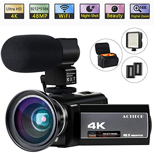 Video Camera 4K Camcorder Digital ACTITOP FHD WiFi Vlogging Cameras Recorder with Microphone for YouTube 48MP 16X Digital Zoom, 3.0 Inch Touch Screen, Wide Angle Lens, Night Vision, LED Light, Travel