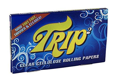 Trip 2 Clear Cigarette Papers aus Zellulose, 1 ¼ Format, 50 transparente Blättchen pro Heftchen 6 Heftchen
