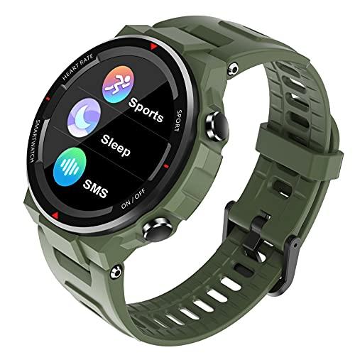 HQPCAHL Reloj Inteligente para Hombre Smartwatch Pulsómetros IP67 A Prueba De Agua Reloj Digital con Step Calories Monitor De Sueño, Reloj De Fitness con iOS Android,Verde