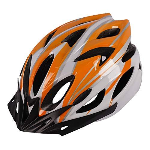 YATT Casco De Bicicleta, Moldeado De Una Pieza 18 Hoyos Cómodo Transpirable con Visera Solar Tamaño Ajustable Ligero para Montar En Carretera Casco Naranja Blanco Apto para Adultos