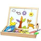 NUOLUX Rompecabezas Magnético Juguetes de Madera Doble Cara Tablero de Dibujo para Niños Pequeños