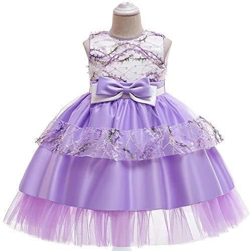 Anoauit Vestido de Princesa para nias Falda de tut de Encaje Vestido de Noche de cumpleaos para nios Falda Vestido de Novia para Fiesta de Navidad Vestido de Fiesta Fotografa-prpura_130cm
