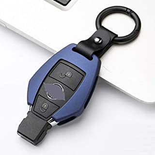 ontto Key Fob Cover Case Shell Jacket Holder Keychain Keyring Full Protection Metal Key Skin Fit for Mercedes-Benz Smart Key Blue