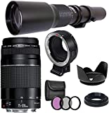 Canon EF 75-300mm III and 500mm f/8.0 Preset Manual Focus Lens Bundle with EF-EOS M Adapter, for Canon EOS M , M50, M6, M5, M100, M10 Cameras