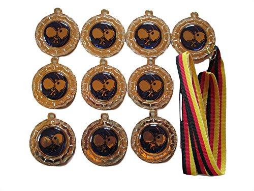 10 Tischtennis-Medaillen mit blauen Emblemen, Deutschland Bänder und 3 Tischtennis-Stickern