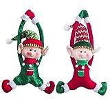 WEWILL Marca Adorable Elfos de Navidad Juego de 2 Chico y Chica Puerta de Navidad Colgante Ornamentos Decoración para el Hogar Personajes de Felpa 16 Inch/ 40 cm
