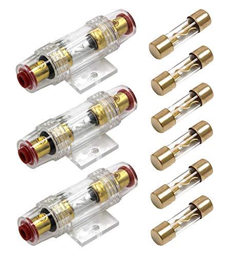 Carviya Sicherungshalter, wasserdicht, 4-8 AWG (25-10 mm²), Inline-Sicherungshalter mit zwei 100 A AGU Typ-Sicherungen für Pkw-Audio, Alarm, Verstärker, Kompressoren