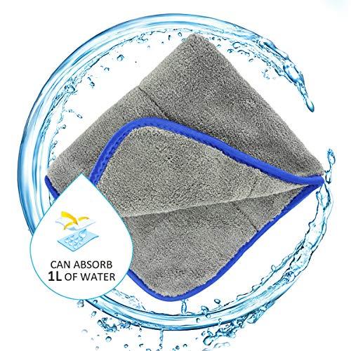 Airpro Microfasertücher Trockentücher Poliertücher,1 Stücke,1200 GSM,42x48CM Reinigungstücher Auto Motorrad Tücher Saugstark Lackschonend Poliertuc Waschen/Putzen/Polieren Trocknen Küche Badezimmer