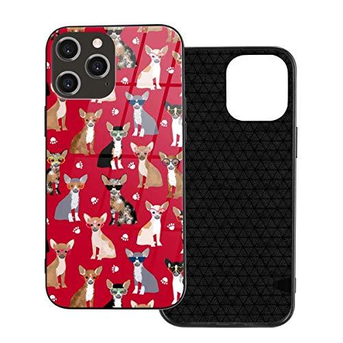 Funda para teléfono Chihuahua Gafas de Sol Funda para teléfono para Perros para iPhone 12/12 Mini / 12 Pro / 12 Pro MAX Cubierta Trasera de Vidrio Templado + TPU para iPhone 12-6.1 Pulgadas