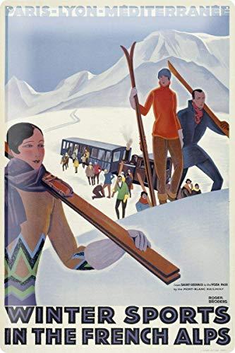DGBELL French Alps Ski Skier Snow Cartel de Chapa Retro Vintage Placa de Hierro Pintura Aviso de Advertencia Cartel Retro Cafe Bar película