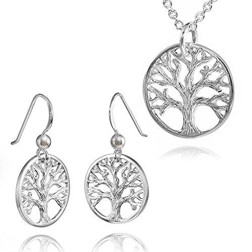 MATERIA gioielli 925 argento orecchini albero vita Set & ciondolo rotondo con catena + Box #99-88-32
