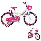 Byox Bicicleta Niño 20 Pulgadas 2081 Rosa Ruedas de Apoyo Delantero Cesta de la Bebida Campana portabebidas