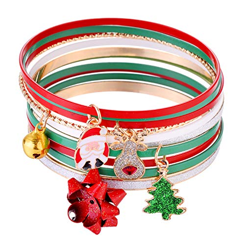 Lux Accessories Christmas Silver Gold Red Green Glittery Reindeer Santa Claus Bangle Bracelets
