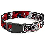 Buckle-Down Dog Collar Plastic Clip Spider Man Action Poses Comic Scenes White Black Red 16 to 23 Inches 1.5 Inch Wide, Multicolor, PC-WSPD039-WM