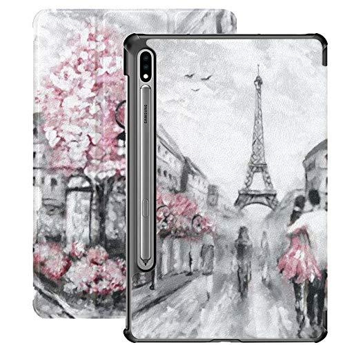 Galaxy Tablet S7 Plus 12,4 Pouces étui 2020 avec Porte-Stylo S, Peinture à l'huile Street View Paris étui de Protection étui de Protection pour Samsung