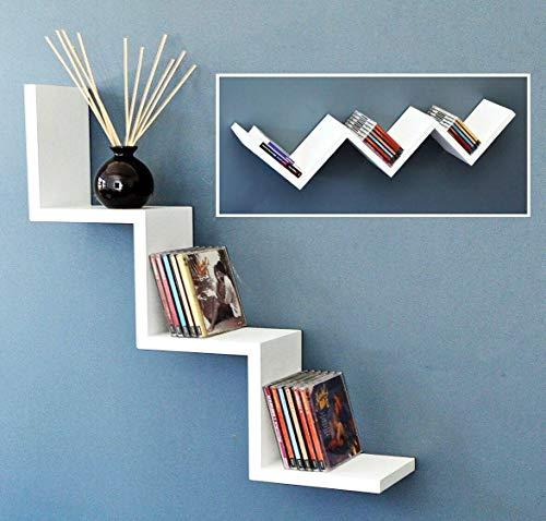 Kasahome Zig Zag - Juego de 2 estanterías para colgar en la pared, 4 colores, 59 cm (blanco)