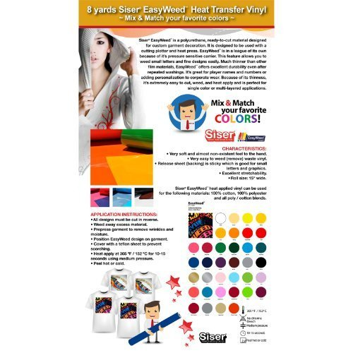 8 Yards Siser EasyWeed Heat Transfer Vinyl (Mix & Match your favorite colors) by Siser: Amazon.es: Oficina y papelería