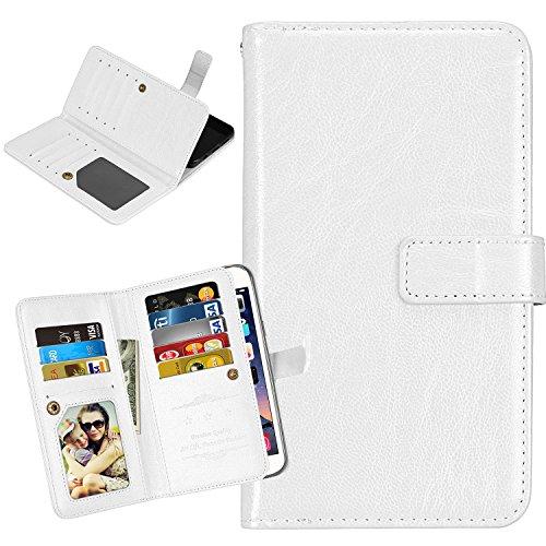 Laybomo Schuzhülle für LG X Screen / K500N Hülle Ledertasche Weiches Silikon TPU Beutel Stehen Bilderrahmen, 9 Kartensteckplatz, Brieftasche Schale Handyhülle für LG X Screen / K500N (Weiß)